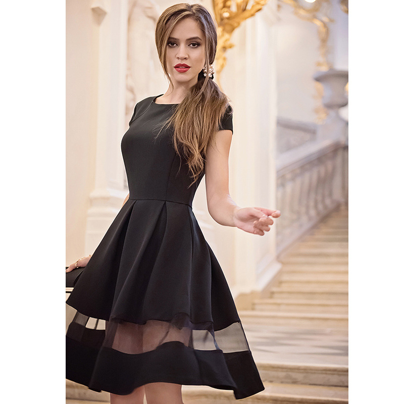 Fashion Women Summer short Dresses Black Mesh Dress Patchwork O Neck A-line party dress Knee Length Vestidos Fiesta sexy dress