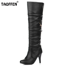 Buy Women Knee Boots High Heel Winter Botas Riding Pointed toe Fashion Long Boot Warm Footwear Heels Shoes Size 35-39 for $26.98 in AliExpress store