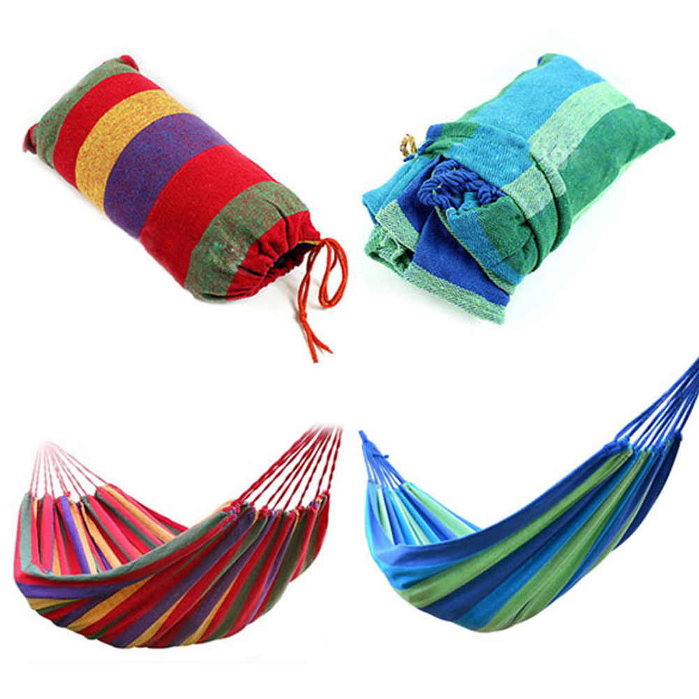 Portable Outdoor Canvas Stripe Hammock Toy Travel Camping Garden Hammock Hanging Swing Playing Bed for Kids Children