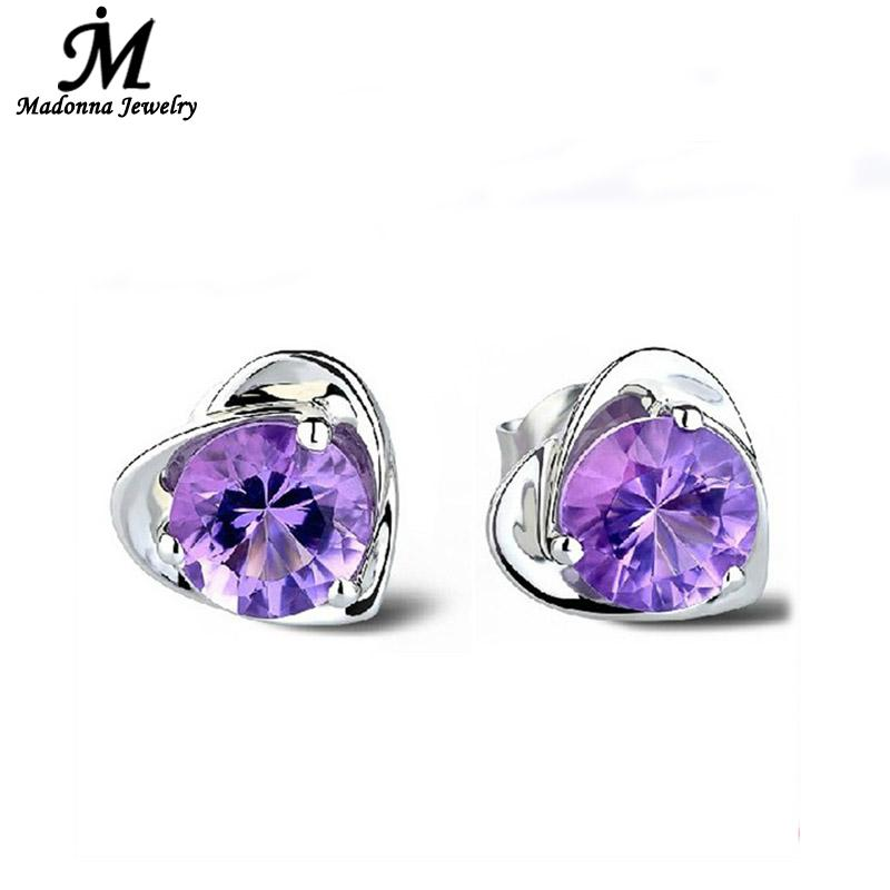 2016 High Quality Original AAA Luxury Crystal Purple Heart Shaped Design Women Stud Earring Silver Girl Ear Jewelry Wholesale(China (Mainland))