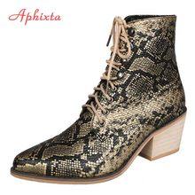 Aphixta ayakkabı kadın botları Mujer ayakkabı kadın yarım çizmeler kadın yılan derisi baskılar ahşap kare topuk sivri burun bayanlar seksi ayakkabılar(China)