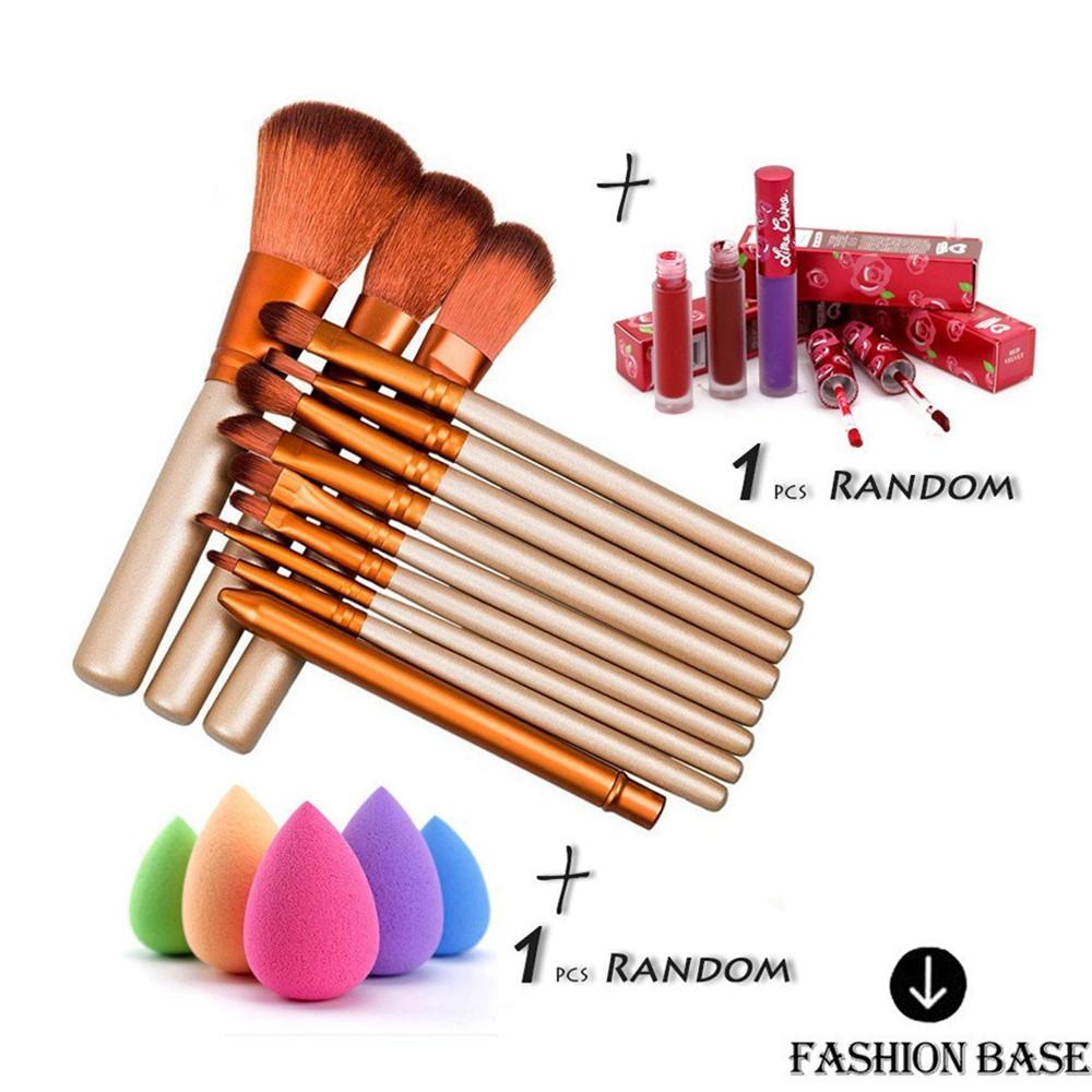 FASHION BASE 12Pcs Make up Brushes Set Foundation Blusher Eyebrow Brush Kabuki Soft +1Pcs Lip Gloss/Lip Brillant+Free Cut Puff