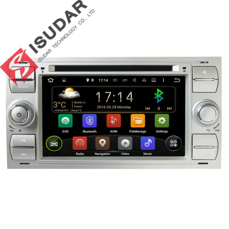 Two Din 7 Inch Android Car DVD Player Audio Ford/Focus/Mondeo/Kuga Quad Core 1.6GHZ Wifi GPS Radio Bluetooth Free Map