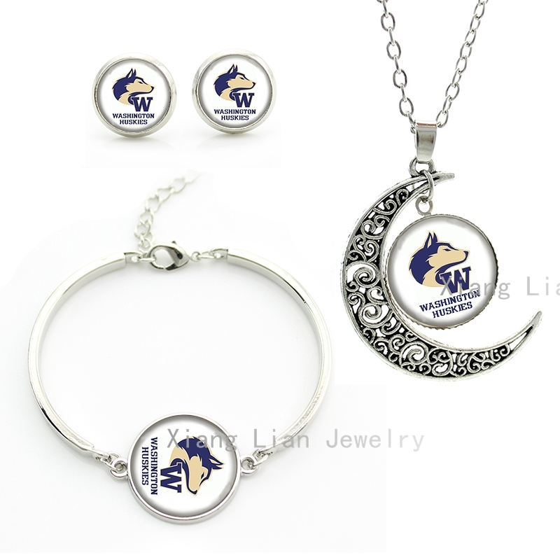 Vintage cute Washington Huskies american football rugby team moon pendant necklace earrings bracelet set Mother's Day gift NF081(China (Mainland))