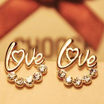 New Arrival cute Gold Plated LOVE Heart Crystal Stud earring For Women Fancy Jewelry Free shipping