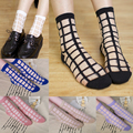 Summer Laddy Pleasantly Cool Socks Glass Silk Plaid Sexy Socks Women Transparent Grid Crystal Silk Socks