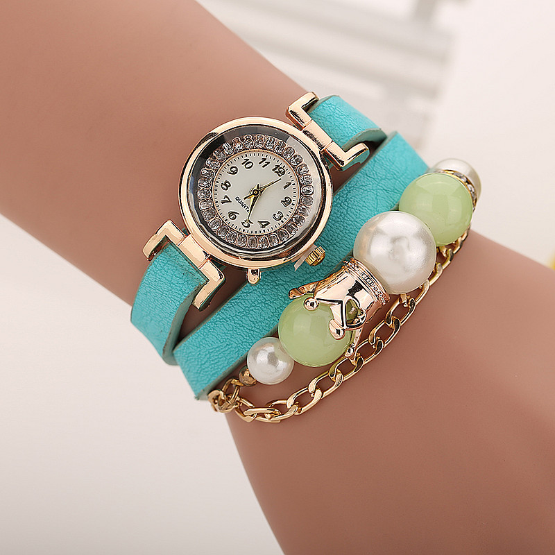 hot women jewelry watches pearl pendant leather bracelet