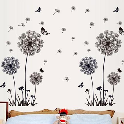 Romantic Lavender wall stickers European creative PVC removable bedroom decor wall stickers flower stikers for wall decoration(China (Mainland))