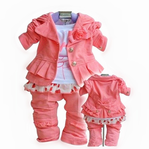 OFF 50% New baby suit girls outfits kids clothes children's clothing set outwear jacket+T-shirt+pants 3pcs sets 2014 spring wear