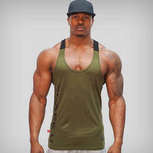 Sólido gimnasio hombres Stringer Tank Top Bodybuilding Fitness camisetas musculosas camiseta baloncesto jersey(China)