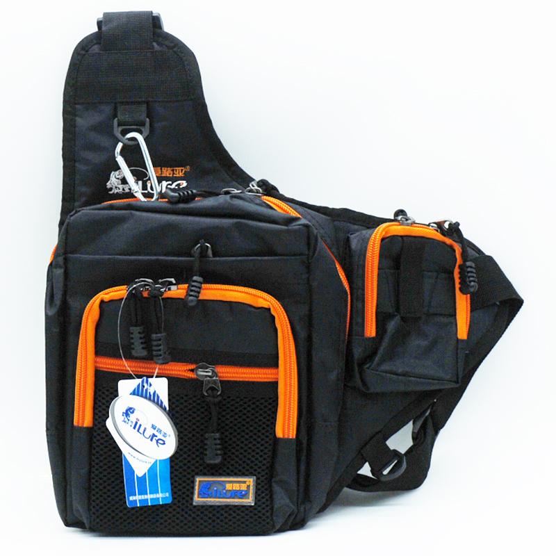 Free shipping ilure fishing bag 32 39 12cm mutipurpose for Fishing backpack tackle bag