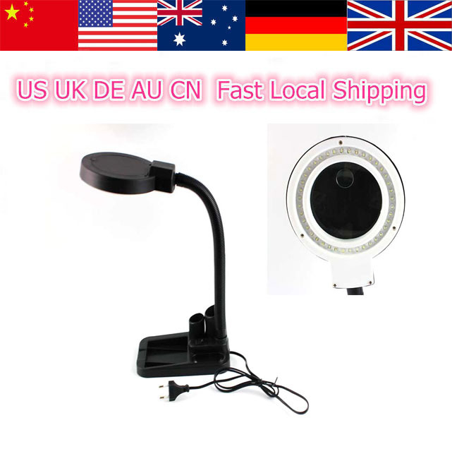 High Quality Magnifying Desk Lamp With 5X & 10X Magnifier With 40 LED Light 90V-260V Power Free Shipping(China (Mainland))