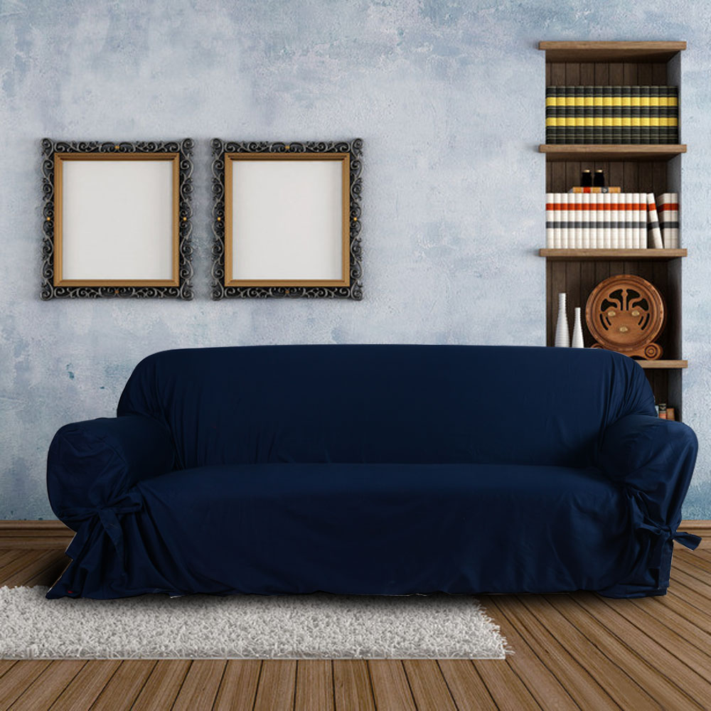 The Cover on The Sofa High Quality Soft Cotton Slipcover Couch Sofa Cover for Loveseat 2 Seater Dark Blue(China (Mainland))