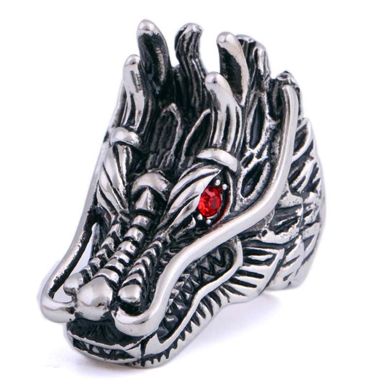 New Design Punk Drag Head Rings For Men, Stainless Steel Red Eyes Dragon Rings For Men Party(China (Mainland))