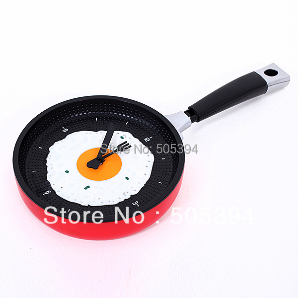 Creative Omelette Fry Pan Kitchen Fried Egg Design Wall Clock Decor#8698(China (Mainland))