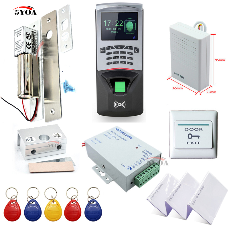 Fingerprint RFID Access Control System Kit Frame Glass Door Set+Eletric Bolt Lock+ID Card Keytab+Power Supplier+Button+DoorBell(China (Mainland))