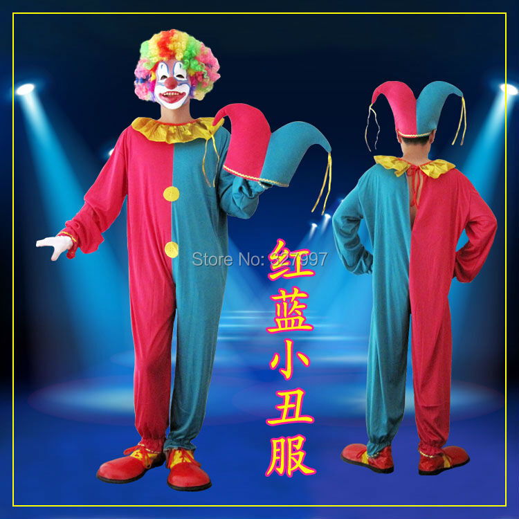 2X Newest festival perform items clown costume red and bule for halloween decoration free shipping(China (Mainland))