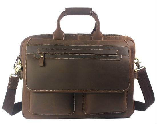 Cool Vintage Men's Crazy Horse leather shoulder bag Men genuine Leather messenger Bag Tote Briefcase 15
