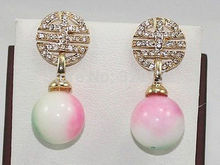 Jewelry Emerald Stunning! Multicolor round jade beads Earring Wholesale Plated gold earrings 4pcs Two pair silver hook(China (Mainland))
