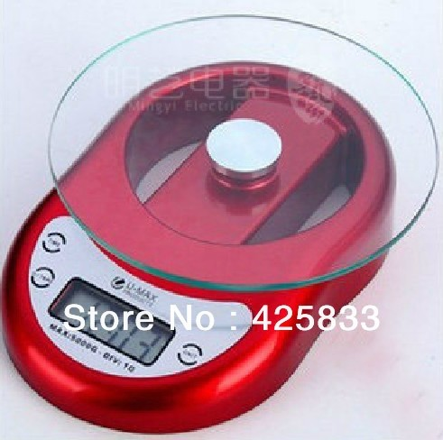 5kg 5000g/1g  Red Electronic Digital Kitchen Food Balances Scale for vegetables and Fruits & Digital Household Scales Wholesale