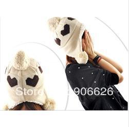 2012 Christmas Gift Women Hat Love Heart Pattern Lady Caps Winter Hats For Woman Ear Muff Fashion Lady's Headwear 4 Colors(China (Mainland))