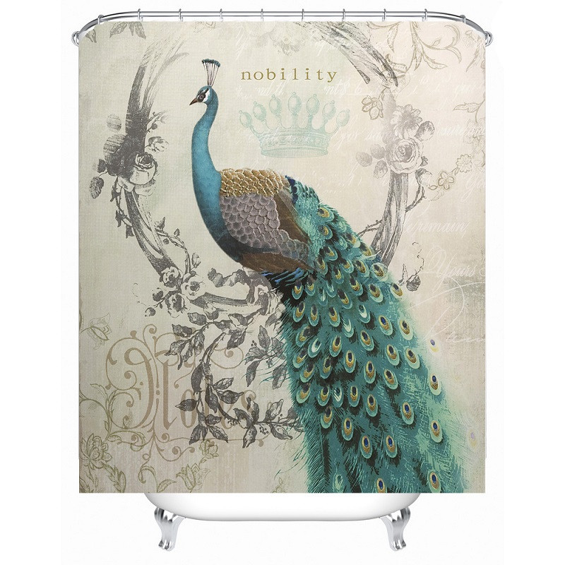 Shower Curtain Peacock Paern Waterproof Polyester Bath Bathroom Accessories 180x180cm Curtains Home Decoration