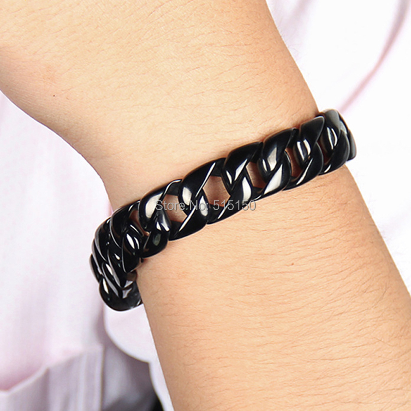 Free shipping 9 15.5mm Germanium titanum steel chain 316L stainless Steel mens Black bracelets&amp;bangles for men jewelry<br><br>Aliexpress