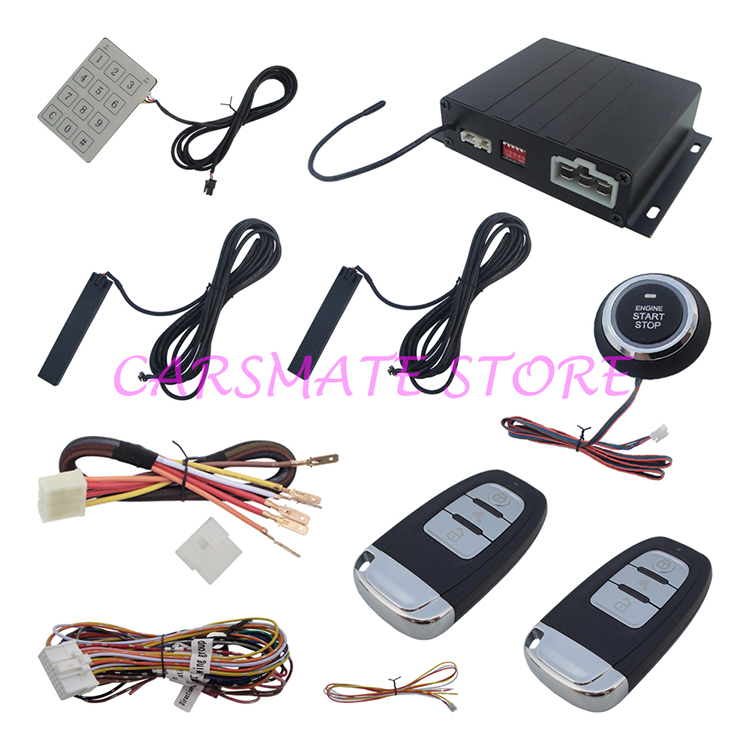 Stock In USA Good Quality Intelligent PKE Car Alarm System With Engine Start Stop Push Button And Password Keyboard Operation(China (Mainland))