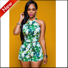 women two piece short set crop top summer 2016 sexy hot pant womens print sleeveless bodycon clothing 2 pieces