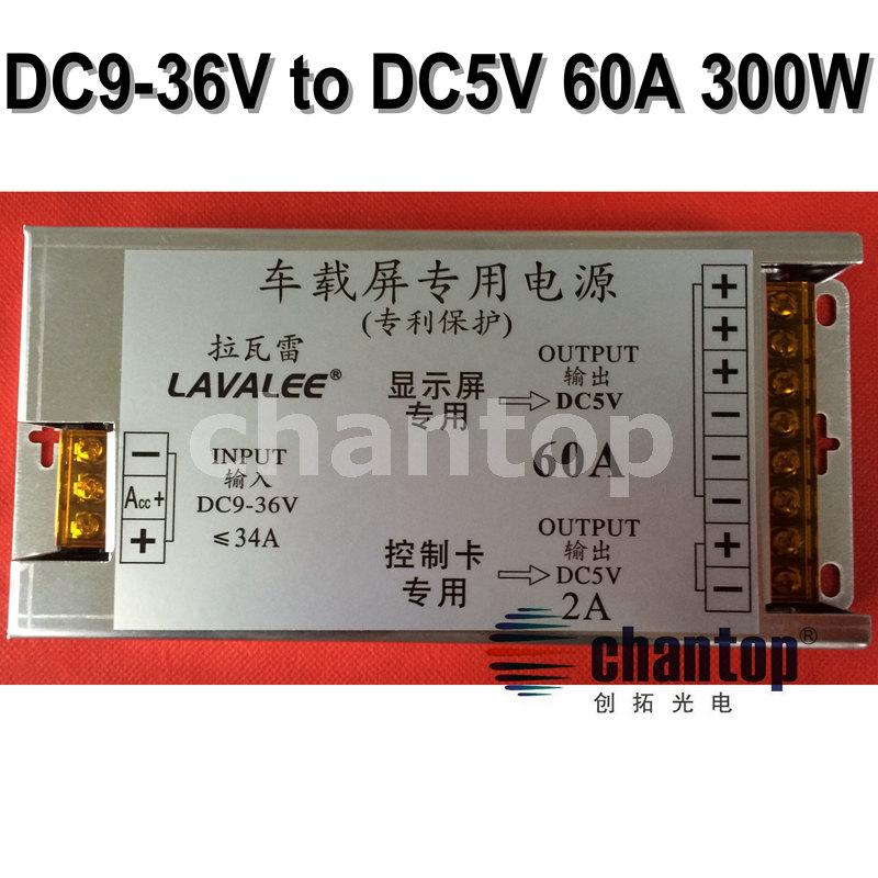 DC 9V~36V to DC 5V 60A 300W led sign power supply Bus / car / taxi switching Power  inverter DC-DC transformer DC converter<br><br>Aliexpress