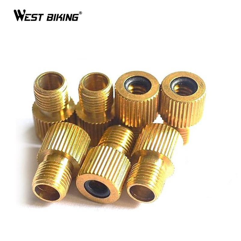WEST BIKING Copper Presta To Schrader Air Pump Bicycle Bike Valve Type Adaptor Gas Nozzle Converter Adapter Bicicleta Tire Tools(China (Mainland))