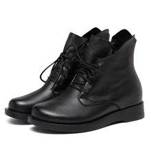 ZXRYXGS Merk Laarzen Zachte Comfort Volledige Real Lederen Schoenen Martin Laarzen 2018 Nieuwe Verhogen Binnen Herfst Winter Schoenen Vrouwen Laarzen(China)