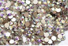 Frete Grátis! 1440 pçs/lote, ss3 (1.3-1.5mm) cristal AB/Clear AB Apartamento de Volta (Nail Art) não Cola Hot Fix em Strass