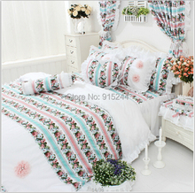 rose flower ruffle bedding set free shipping cotton palace lace bedskirt wedding duvet cover set LUXURY princess round bed rug