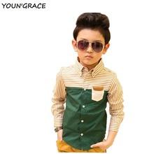 2015 Brand New Kids Striped Dress Shirts for Boys Fashion Cotton Patchwork Boys Long Sleeve Formal Dress Shirts Boys Tops, C112(China (Mainland))