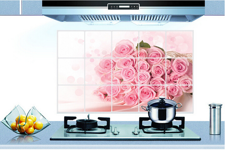 2 pcs Pink Rose Home Kitchen Wall Stickers / Flowers Anti-oil Kitchen Wall Tile Stickers / Free Shipping Kitchen Cleaner(China (Mainland))