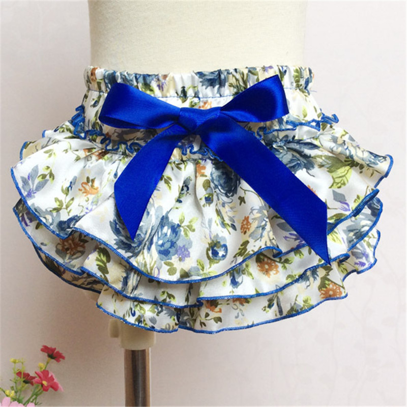 Baby Panties Ruffle Tutu Diaper Cover 2016 Summer Baby Shorts Ruffled Floral Pattern Baby Girl Bloomers with Bow Kids PP Pants(China (Mainland))