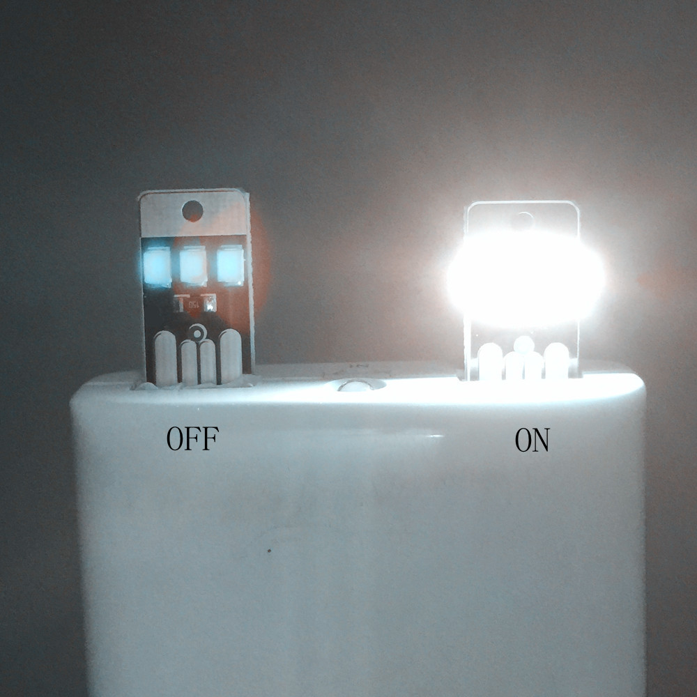 White Mini LED Night Light Portable USB Power Pocket Card Lamp Bulb Led Free Shipping(China (Mainland))