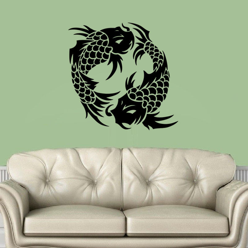 Popular fish wall decoration buy cheap fish wall for Koi fish wall stickers