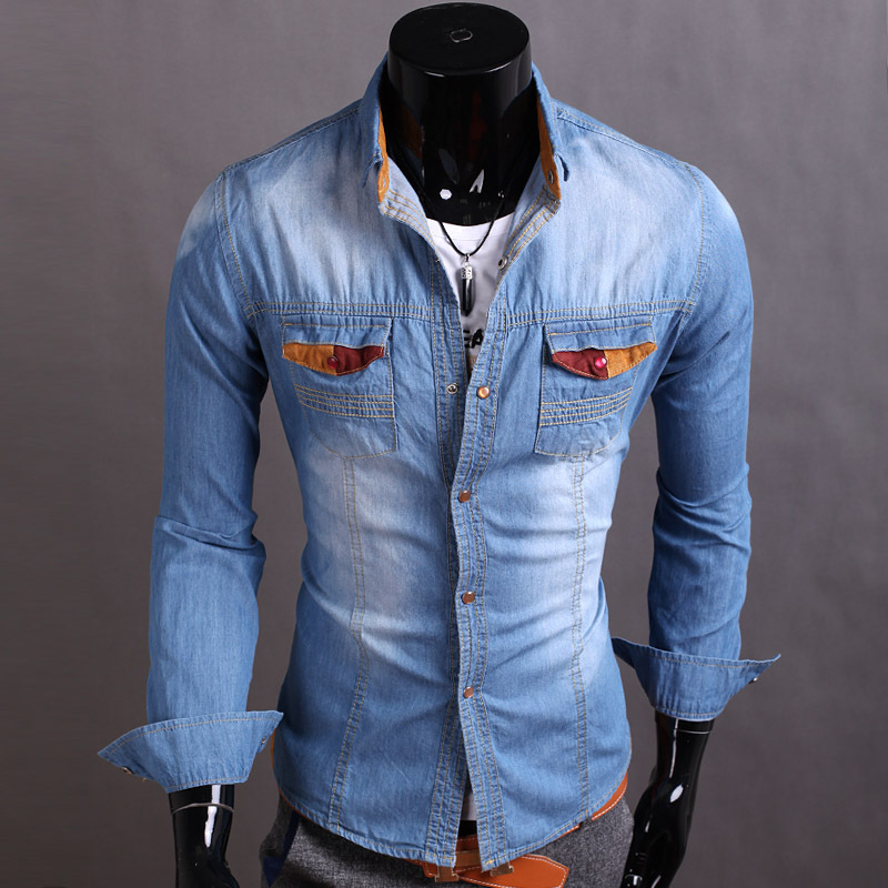 3x Designer Men's Clothes New Fashion Denim Shirts