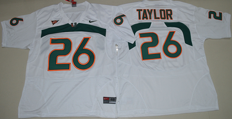 New Arrival High Quality Nike Miami Hurricanes Sean Taylor 26 College T-shirt Jersey - White Size S,M,L,XL(China (Mainland))