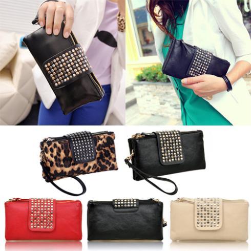 Women Rivet Zipper Wallet Holder Card Coin Clutch Purse Wristlet Evening Bag 2J67(China (Mainland))