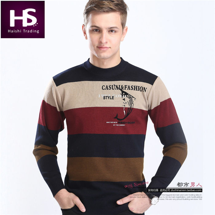High Quality Autumn Wool Striped Sweater Men Brand 2015 O-Neck Cashmere Mens Sweaters Casual Print Pullover Men Pull Homme Shirt(China (Mainland))