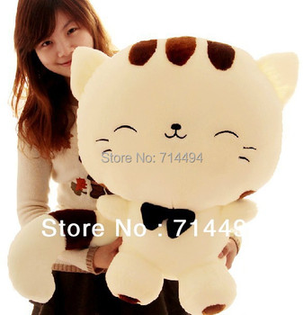 28cm Lovely big tail large face cat  plush toy  pillow birthday gift not linting free shipping