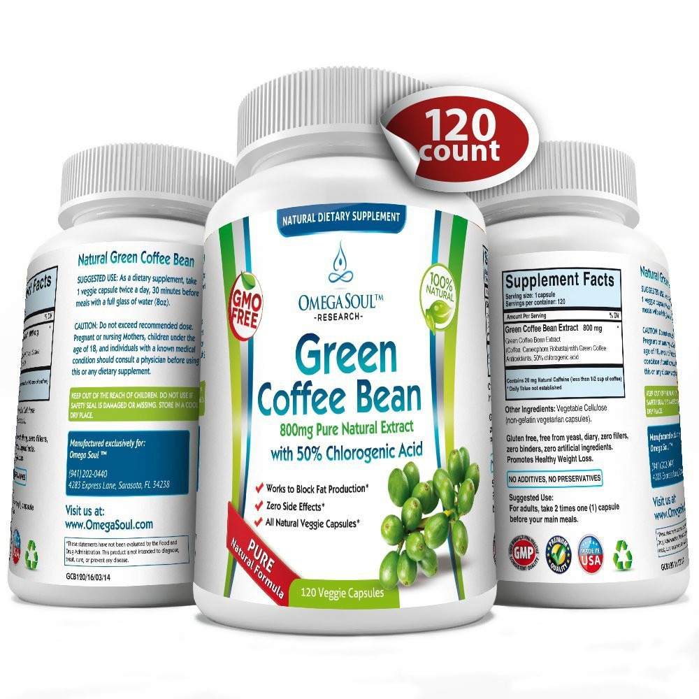 Pure Green Coffee Bean Extract with 50% CGA - 800 mg/capsule - 1600 mg per Serving (only 2 capsules/day)- 120 Capsules(China (Mainland))