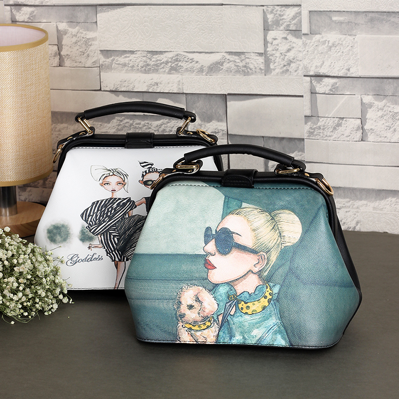 Hot Selling Brand Doctor cute character printing blue Bag Women Hand Bags Leather Handbags Russia Market crossbody bag(China (Mainland))