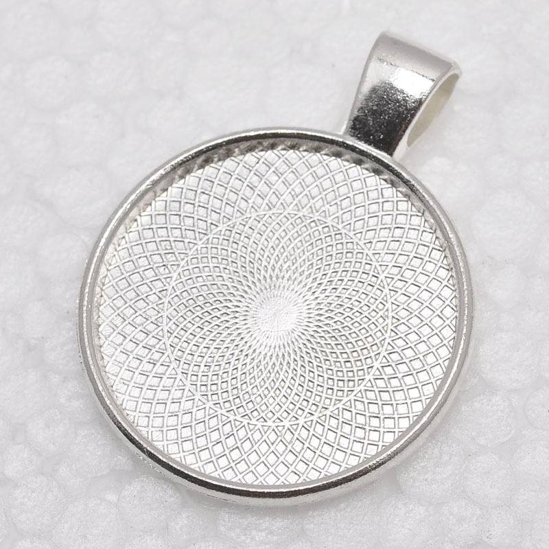 1 inch Round Shiny Silver Plated Pendant Trays, Blank Pendant Bases, 25mm Bezel Pendant Settings for Glass or Stickers(China (Mainland))