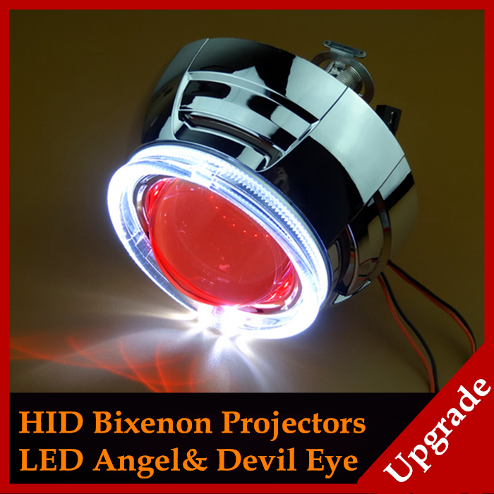 Car Styling Automobiles 3.0 inch Pro Fiber Optics LED Angel Eyes Halo Devil Eyes HID Bi xenon Lens Headlight Projector H1 H4 H7(China (Mainland))