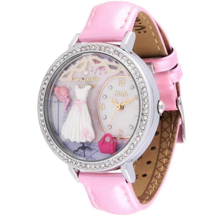 Elegant Fashion Women Delicate Crystals Watches Handmade Clay White Dresses Wrist watch Real Leather Timepiece Quartz Reloj S043(China (Mainland))