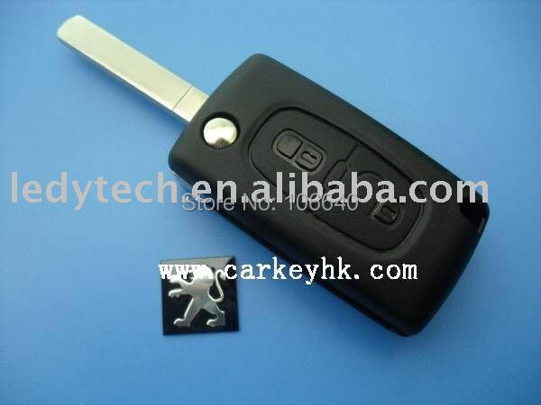 Original high quality Peugeot 307 2 buttons flip remote key shell with battery place no groove